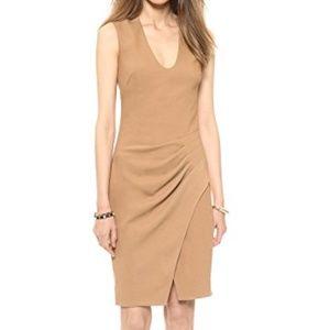 L'Agence U Neck Pleated Side Camel Sheath Dress